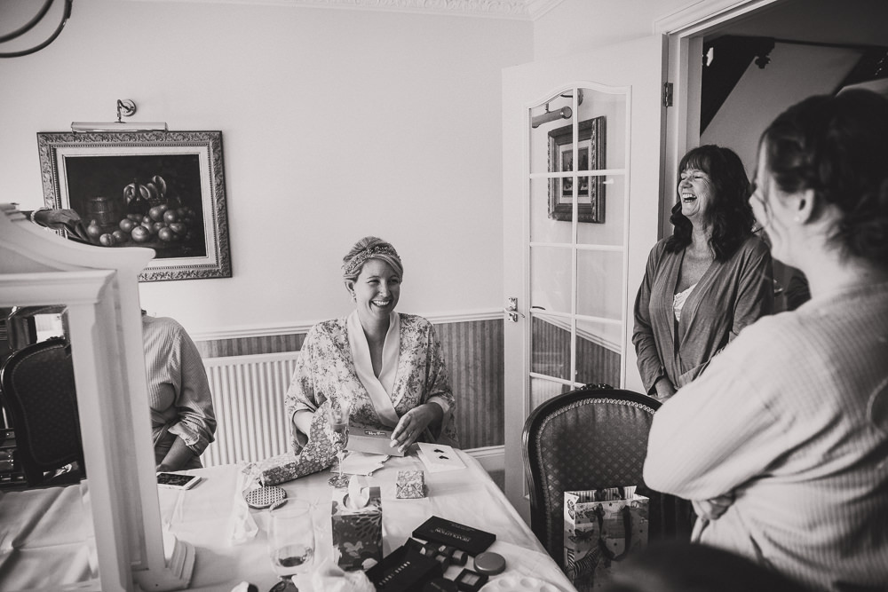bride laughing with family