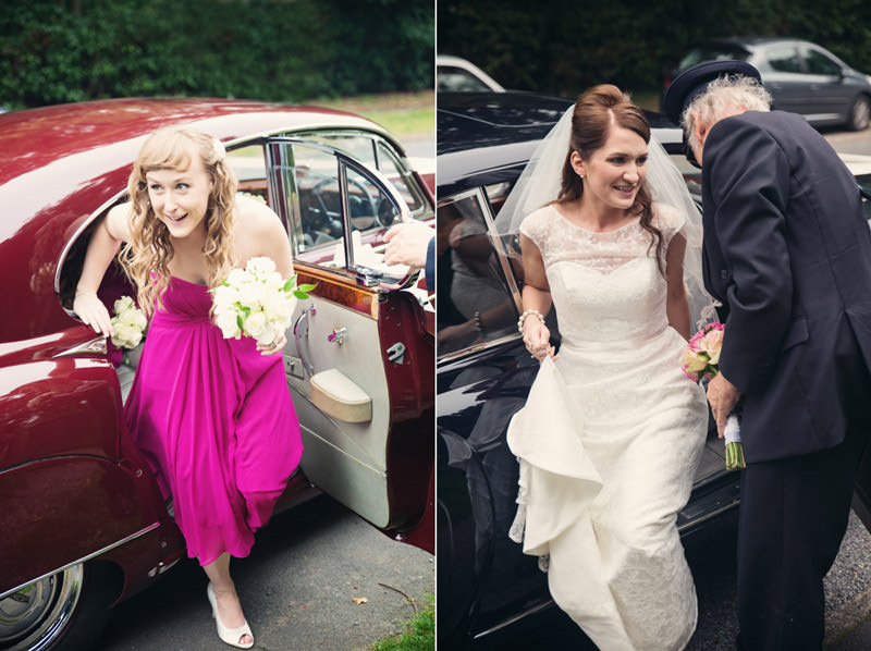 Bride and bridesmaid getting out of wedding car