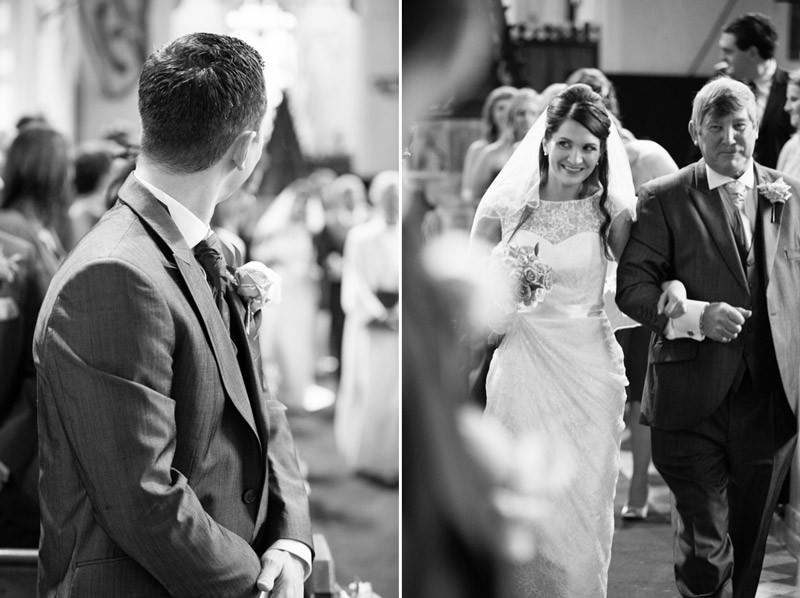 Groom sees bride for first time coming down aisle
