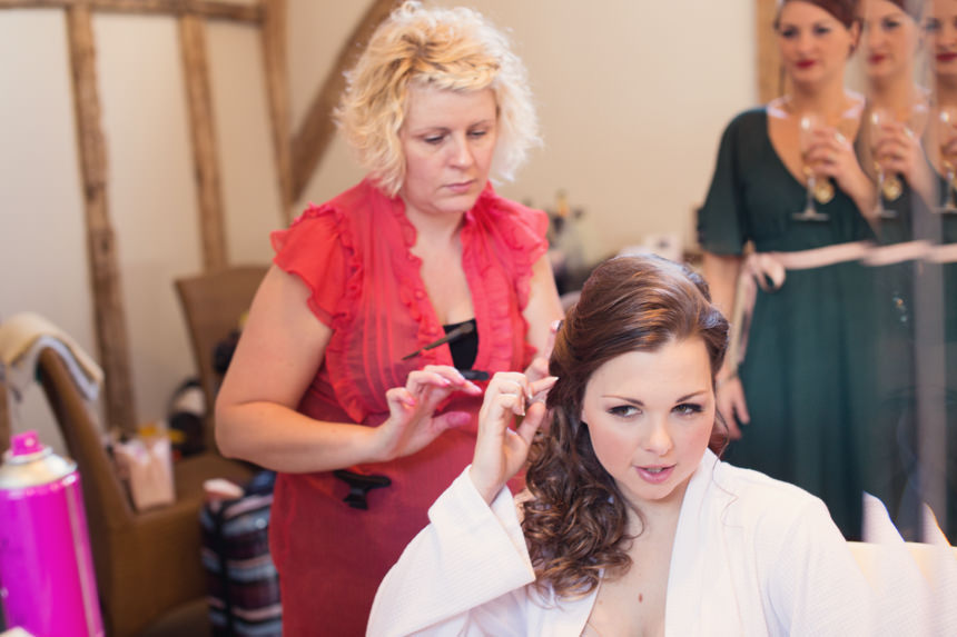 hairdresser and bride