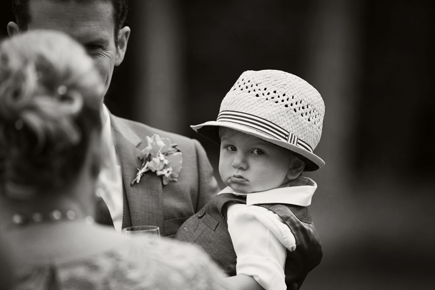 Bride and Groom's baby son with cool hat on