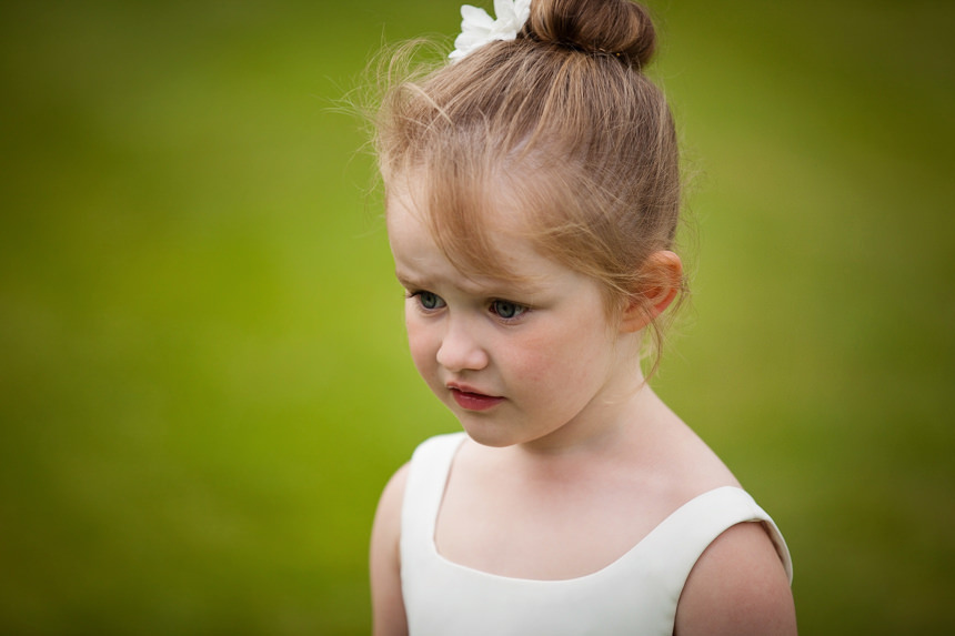 close up of young flower girl