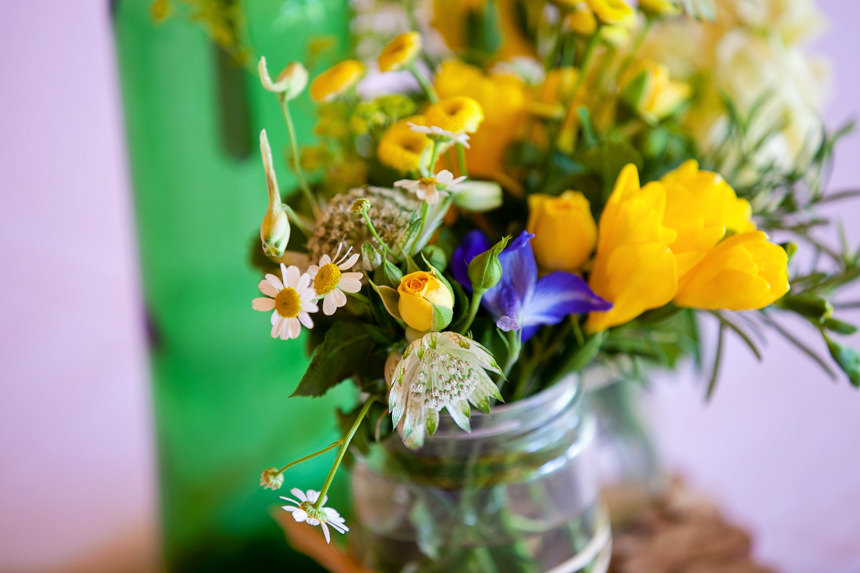 table flowers in jar
