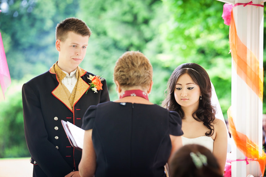 bride and groom with registrar