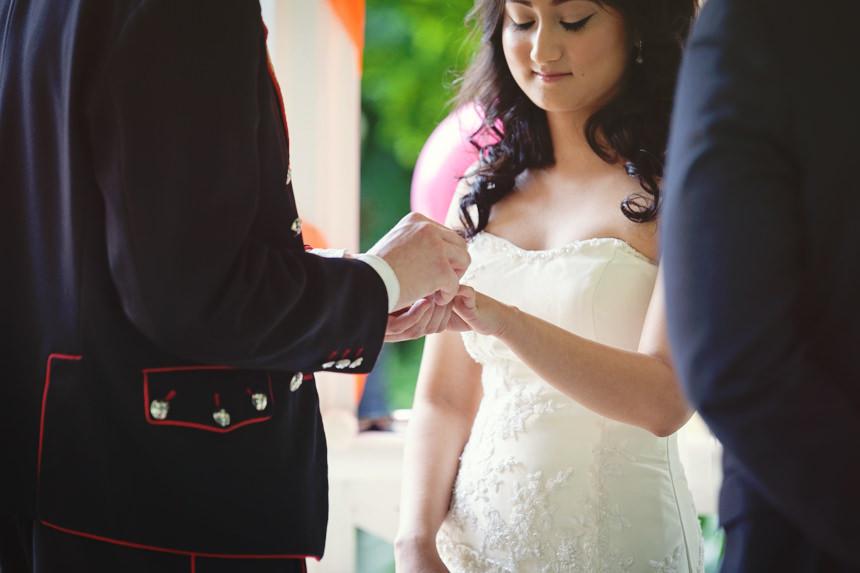 groom puts ring on bride's finger