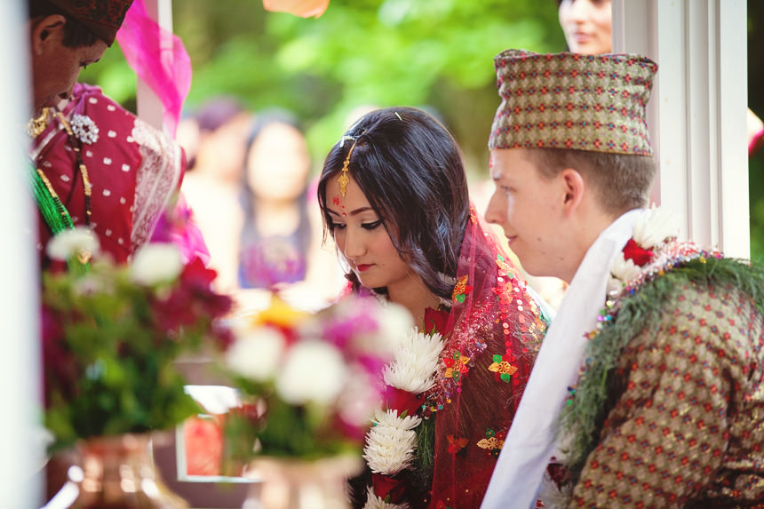 bride bows head