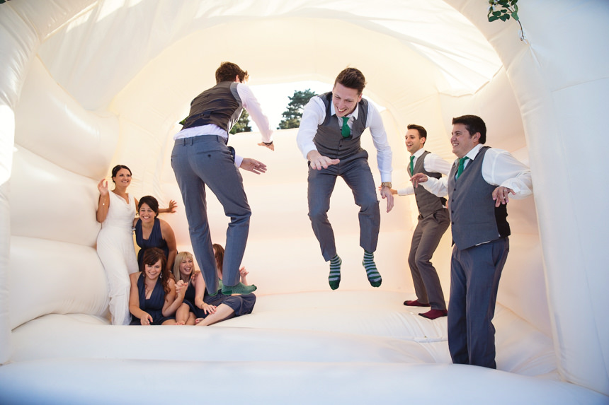 groomsmen high five
