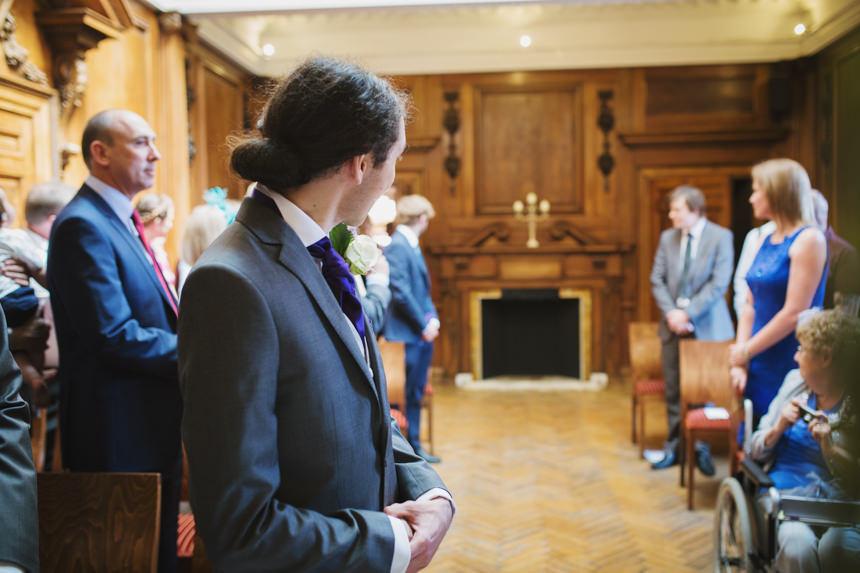 Groom looking for his bride