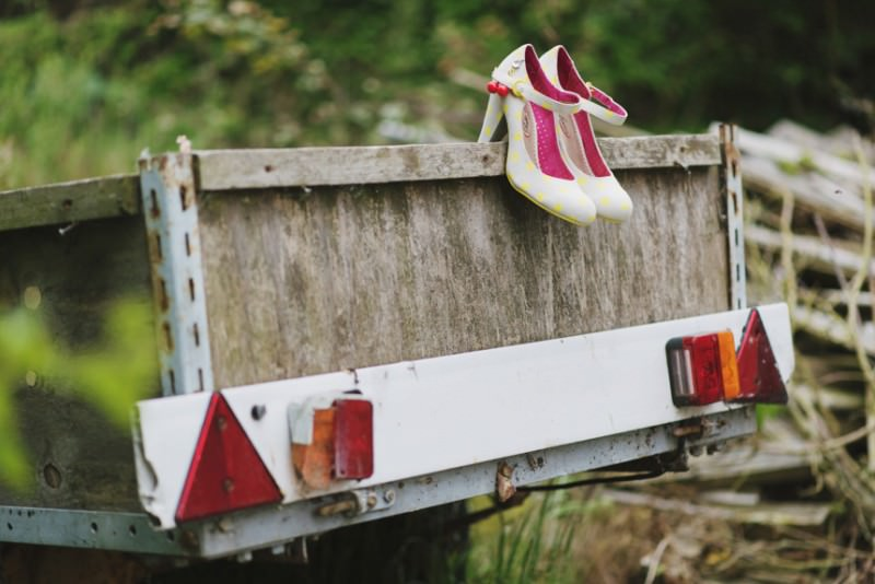 Wedding shoes on trailer