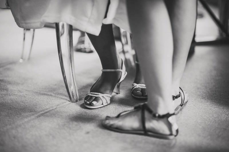 brides feet in shoes