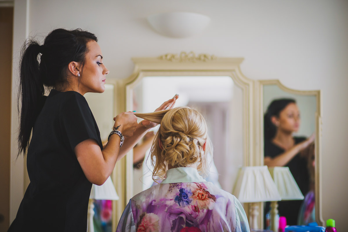 bride and hair stylist