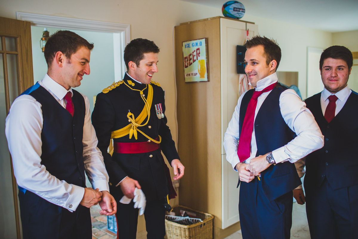 groomsmen preparing