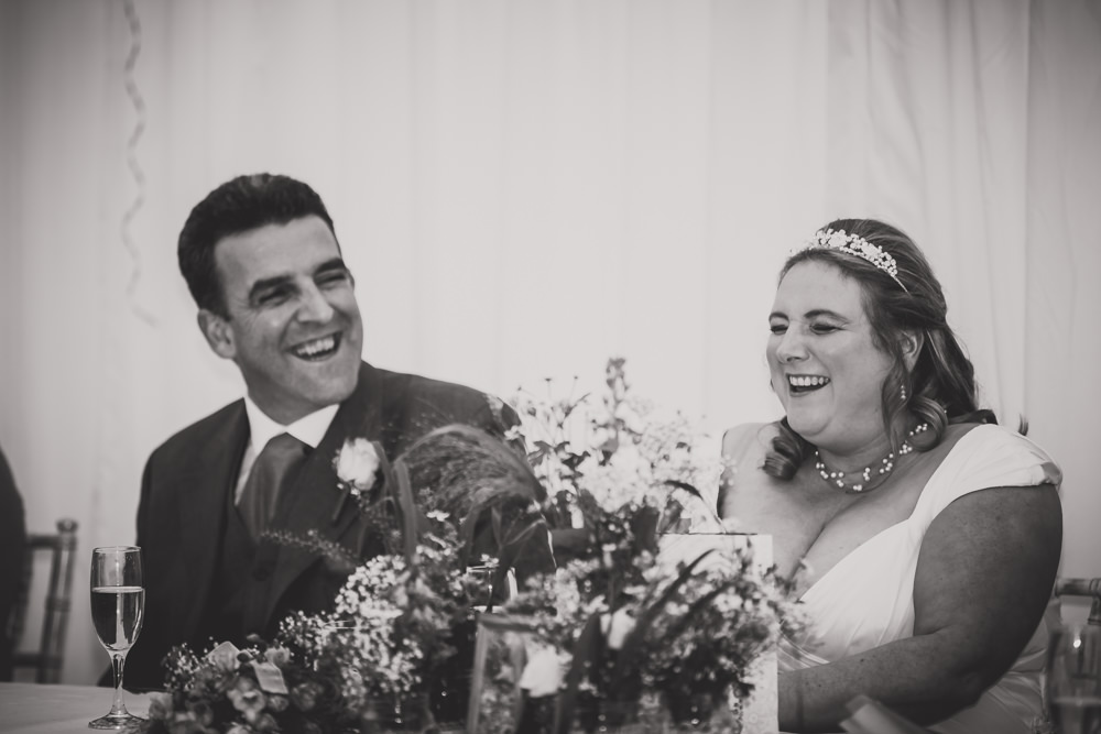 bride and groom during speeches
