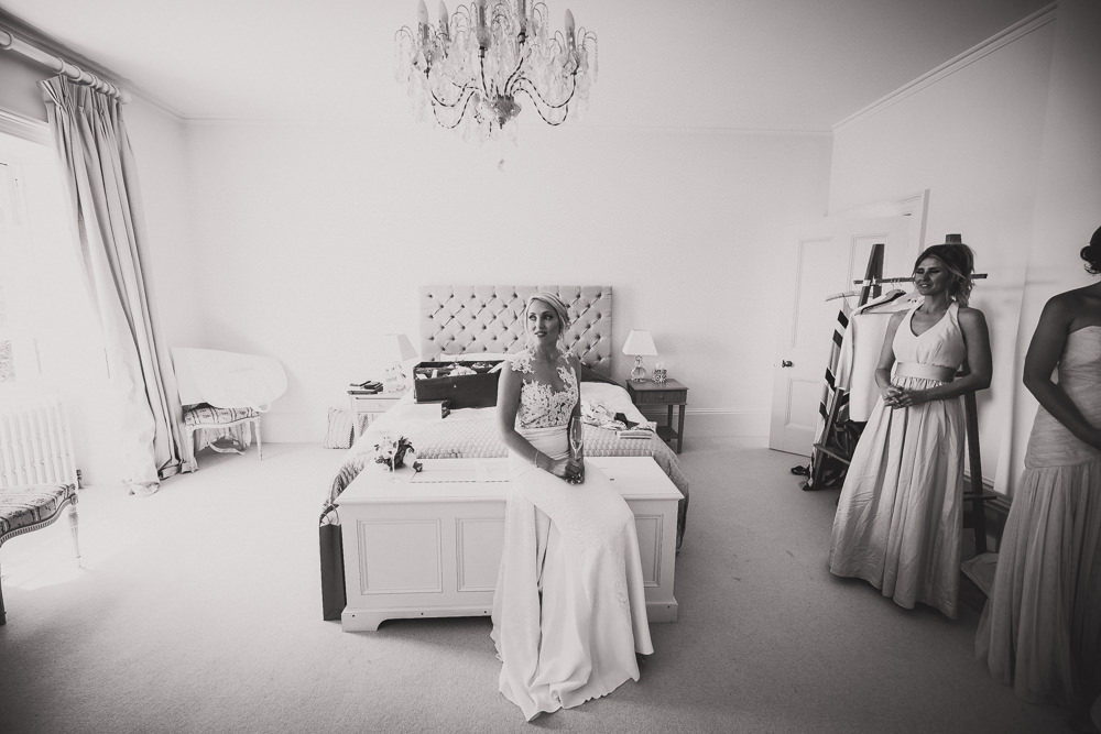 bride siitting on bed